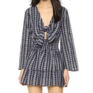 """Moon river"" Tie front printed dress"